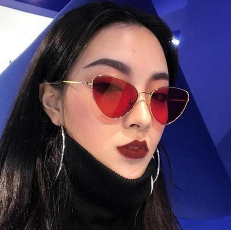 Fashion Mirror Cat Eye Sunglasses Women Vintage Wrap Metal Frame ...