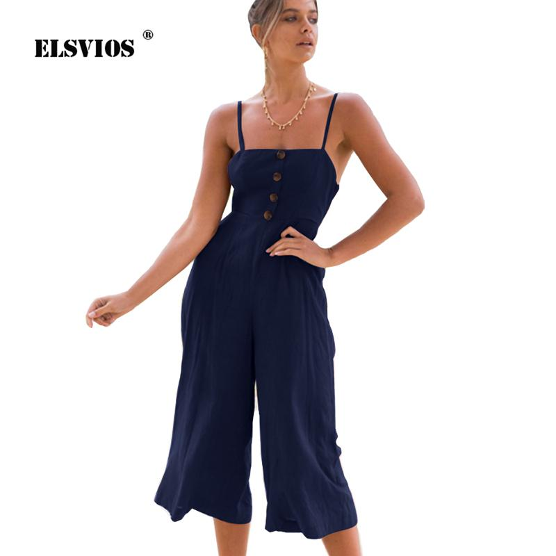 f05814ab847 2019 ELSVIOS Cut Out Back Knot Jumpsuit Women 2018 New Summer Bow Tie  Backless Playsuit Spaghetti Strap Wide Leg Strapless Rompers From Modleline