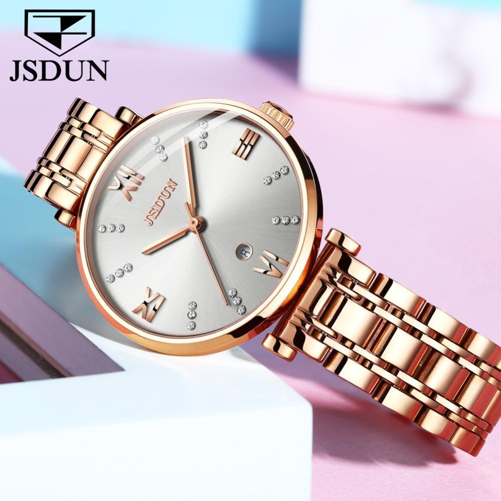 922a4657fcb0 Compre TOP Relojes De Cuarzo Suizo De Lujo Para Mujer Reloj De Dama Blanco  Con Fecha Oro Rosa Acero Inoxidable Zegarek Damski Bayan Kol Saati A  92.45  Del ...