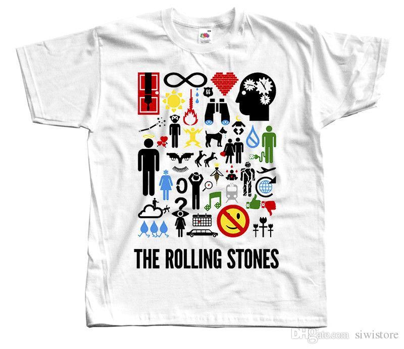 2f15fad1b9 Compre Os Rolling Stones V3, Símbolos, Banda De Rock, Poster T SHIRT BRANCO  S 5XL De Siwistore, $10.53 | Pt.Dhgate.Com