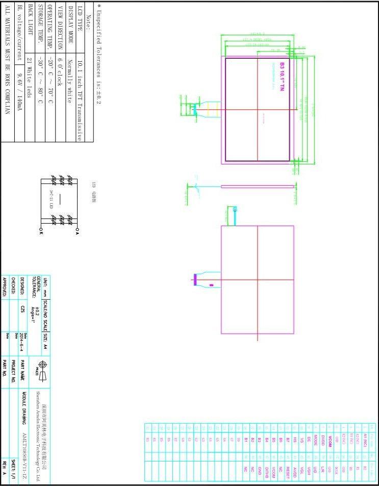 Schermo da 10,1 pollici 1024 * 600 TFT LCD TN con display RGB e EK79001A ICe