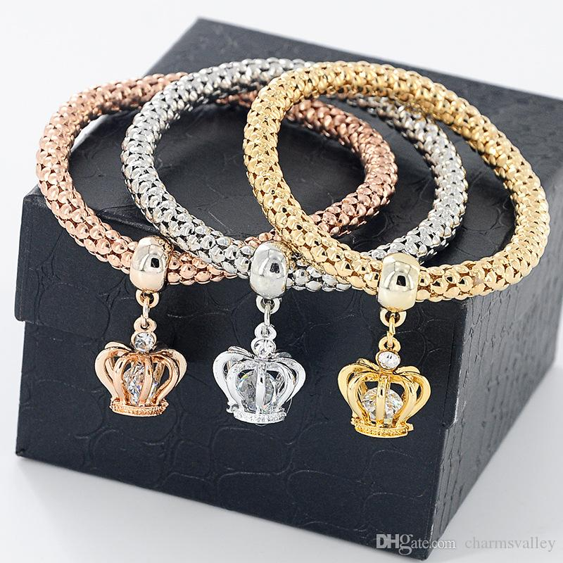 Multilayer Popcorn Stretch Bracelet Bracelet Fashion Rhinestone Elephant Life Tree Owl Butterfly Crown Charms Brazalete colgante para mujeres Je
