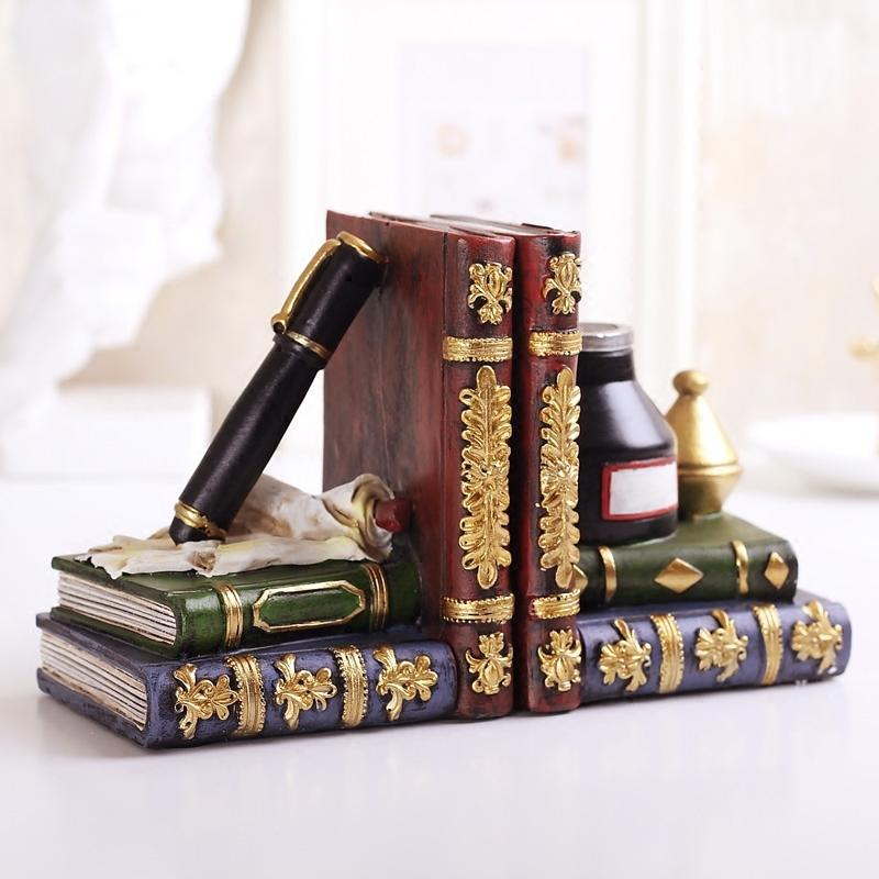 Vintage Style Decorative Birds & Books Design Resin Bookshelf Bookends/Paper Weights Home