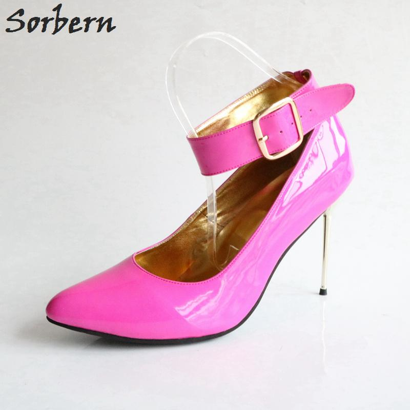 Wholesale Big Size Us13 Women Pumps Steel Heels Stilettos Ankle