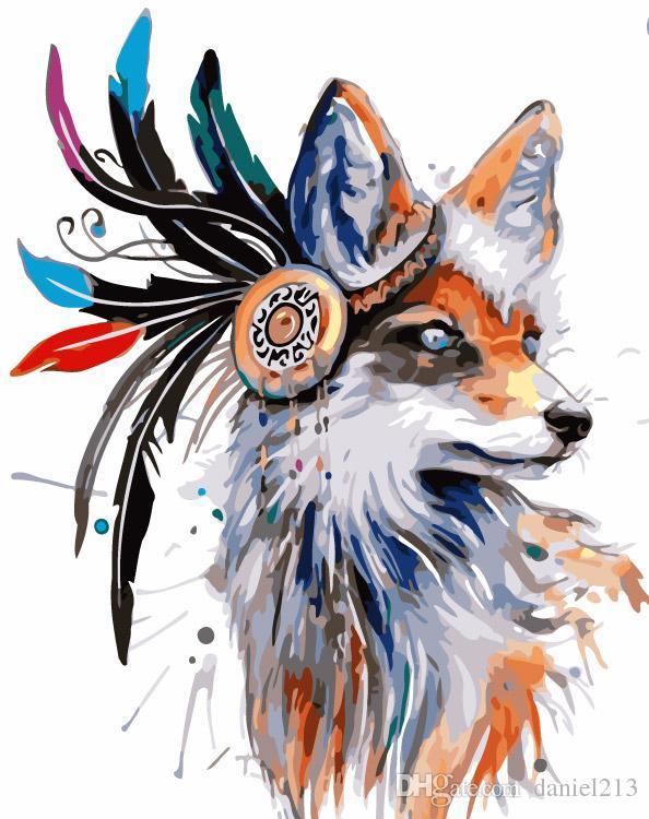 Compre 16x20 Pulgadas Bosnio Color Pluma Lobo Diy Pintura Sobre