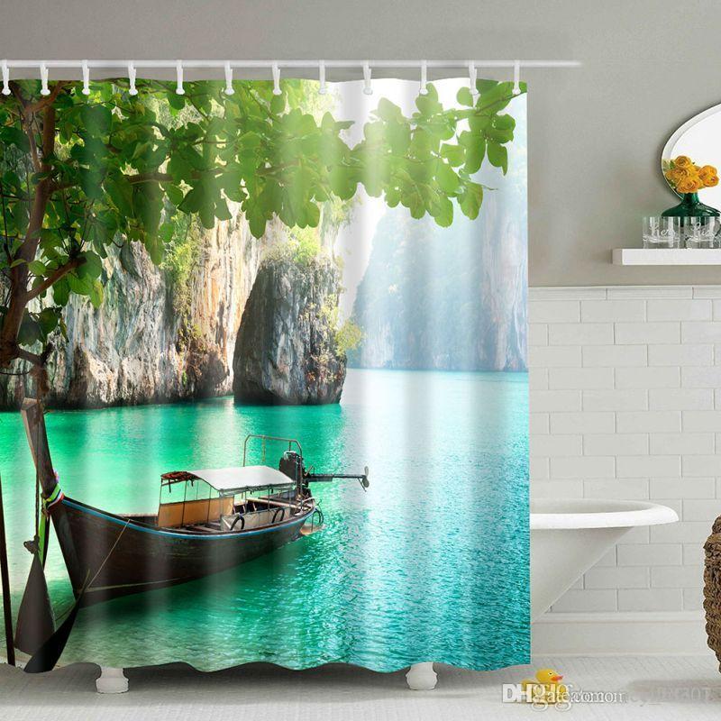 Wholesale Large Canyon Boat Zen Waterproof Natural Scene Yoga Shower Curtain Bathroom Creative Polyester Quality Bath Curtain