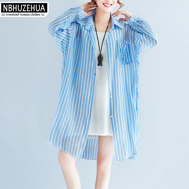 efc828643af 2019 NBHUZEHUA A4 Women s Summer Thin Long Shirt Loose Blue Stripe Shirts  Plus Size Long Sleeve Blouse 4XL 5XL 6XL From Shipsoon