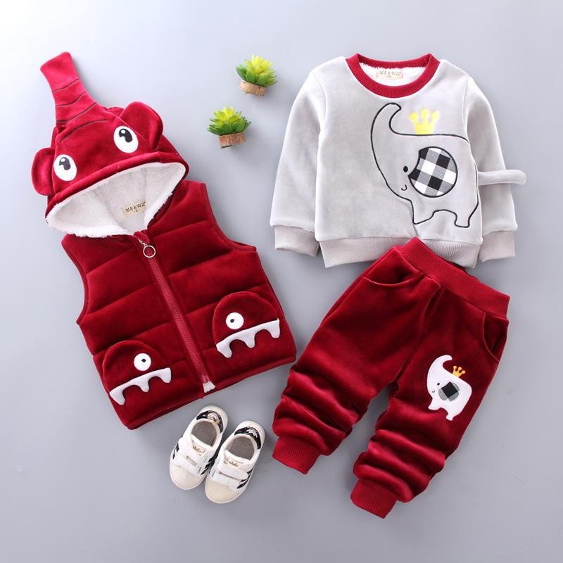 84ec43f0f 2019 Boys Winter Set Plus Velvet Thickening 0 1 2 3 Years Old ...