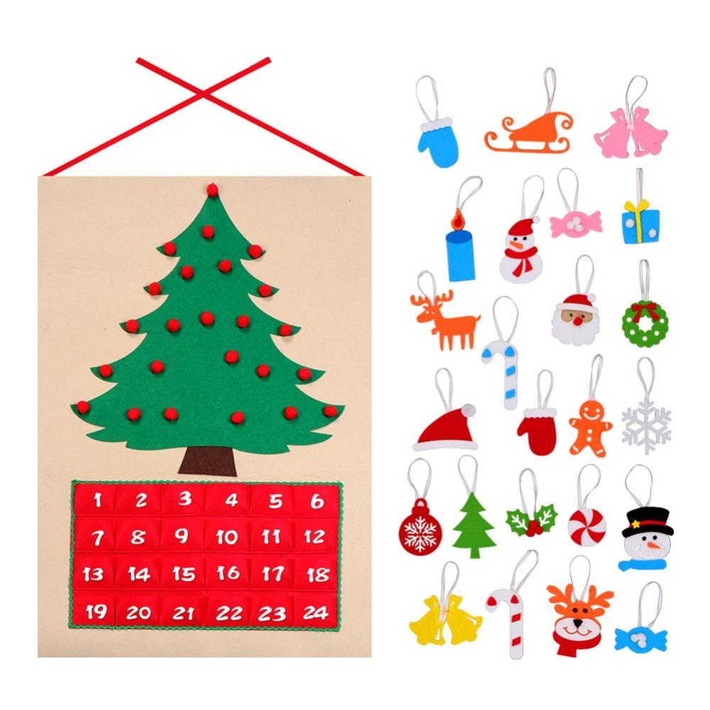 2018 date 1 24 diy felt christmas advent calendar christmas tree countdown calendar with pockets new year hanging ornaments from topprettymall
