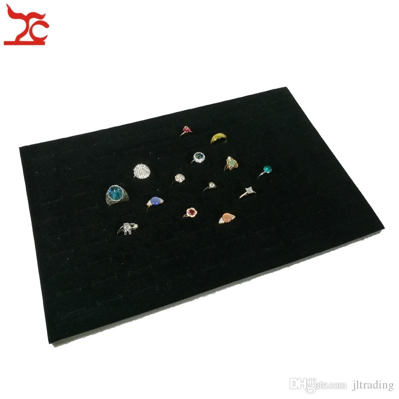 Wholesale Black Grey Velvet Foam Ring Earrings stud Insert Counter 100 Slot Velvet Tray Insert Ecconomic Organizer Display Liner Box