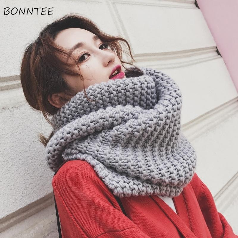 Scarves Women 2018 Autumn Winter Warm Knitting Solid Scarf Simple Trendy Student All-match Scarfs Korean Style Elegant Womens