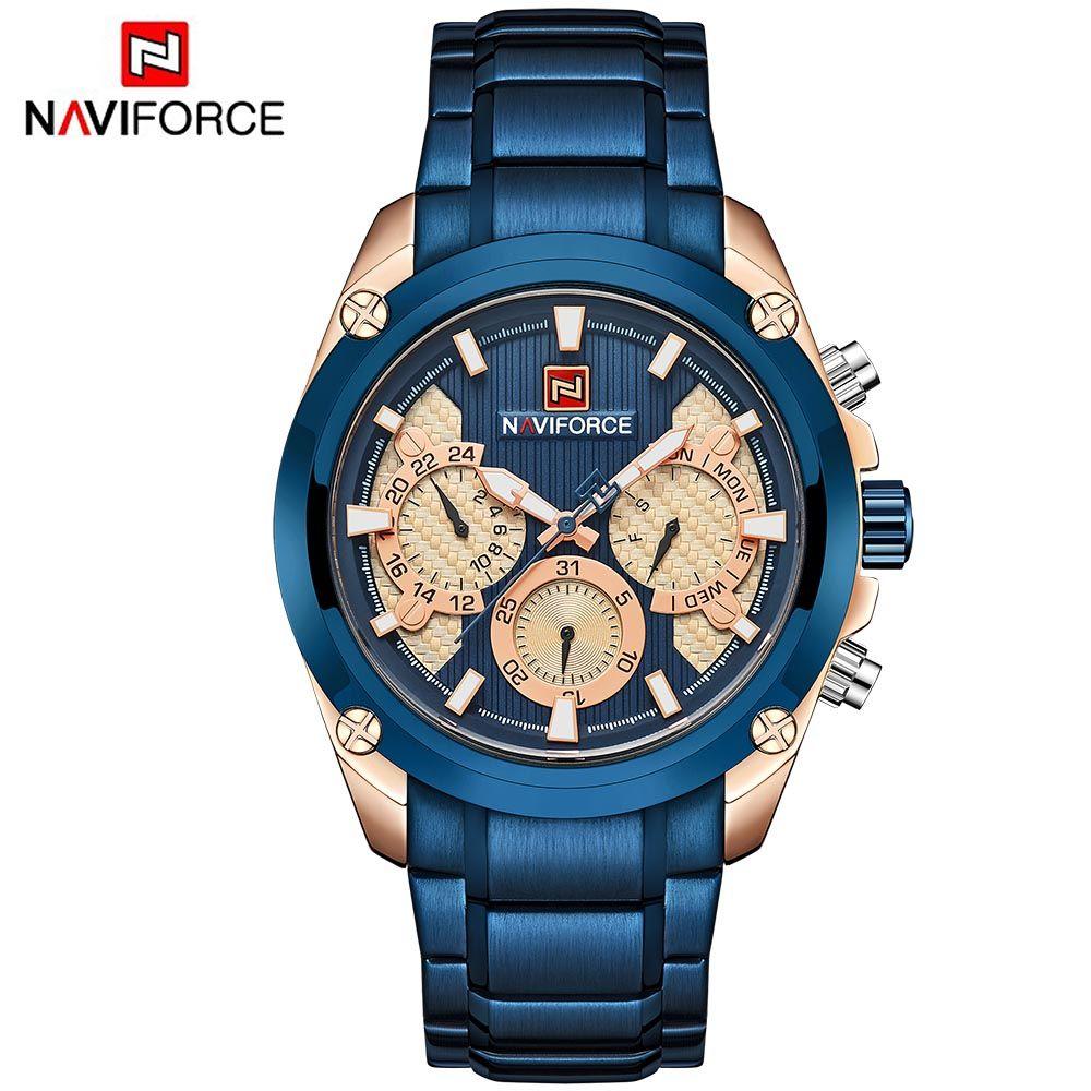 21bd59da8ae7 NAVIFORCE Relogio Masculino Blue Mens Watches Top Brand Luxury Quartz Gold  Watch Men Full Steel Casual Sport Wristwatch Couple Watches Buy Clothes  Online ...
