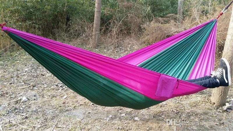 En Kaliteli Taşınabilir Naylon Paraşüt Çift Kişi Hamak Açık Kamp Güvenli Açık Dişli ravel Hamak Uyku Tulumu 270X140 cm