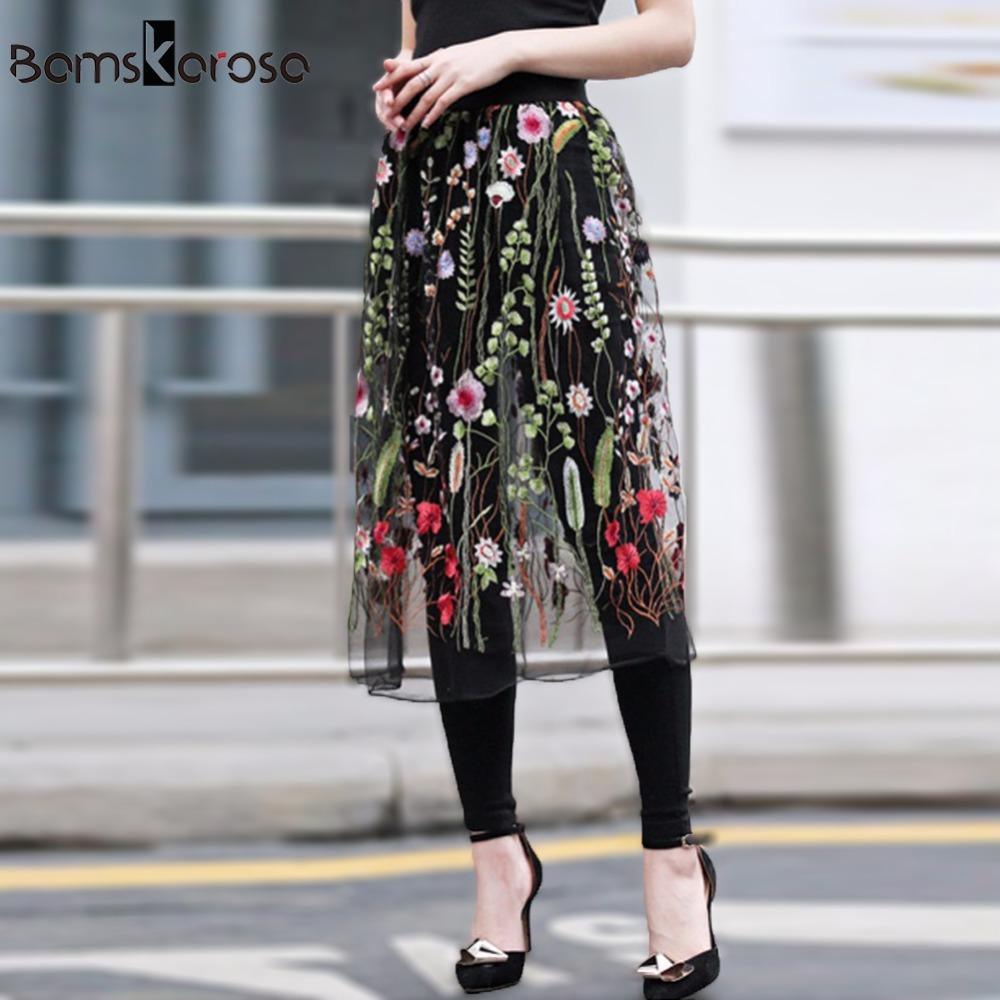 Bamskarosa Women Vintage Long Black Faldas Mujer Casual See Through Floral  Mesh Embroidery Skirt EleA Line Skirt Saia Midi UK 2019 From Yujiu e7136a0d69d