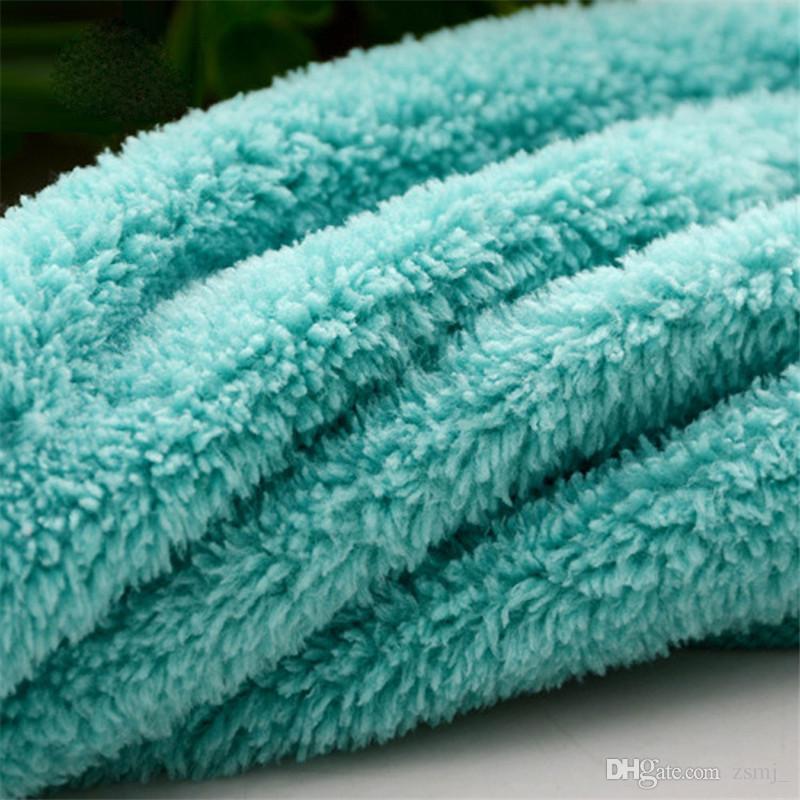 Practical 32*46cm Coral Velvet Fleece Hanging Type Towel Absorbent Hand Dry Towels Kitchen Dish Cloth