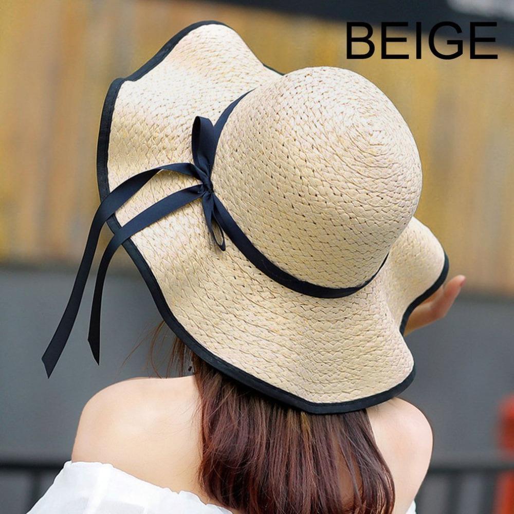 Compre Sombrero De Paja De Verano Sombrero De Las Mujeres Grandes De Ala  Ancha Bowknot Beach Sun Hat Bloque Protección UV Panamá Para Mujeres Con  Gran ... 272301bef407