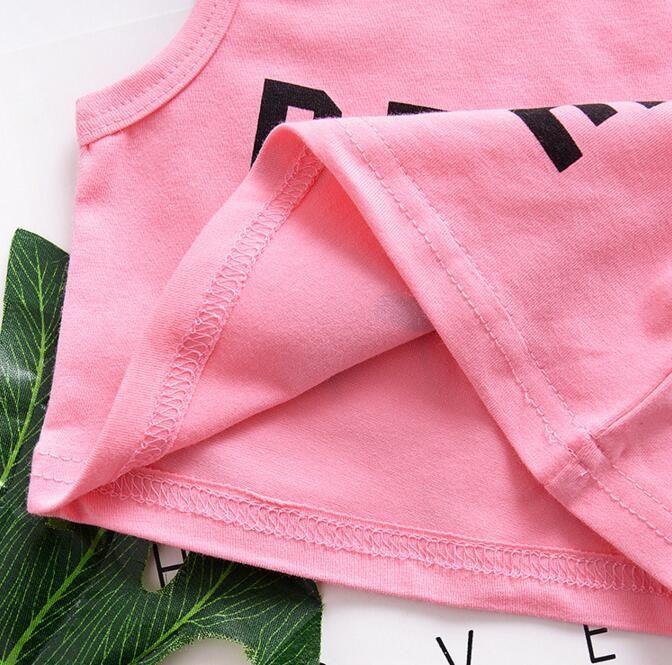 Bebê Meninas do verão Conjunto de Roupas Impressão Alfabética Franjas Ternos Roupa Infantil Criança Top + Shorts ternos menina do bebê