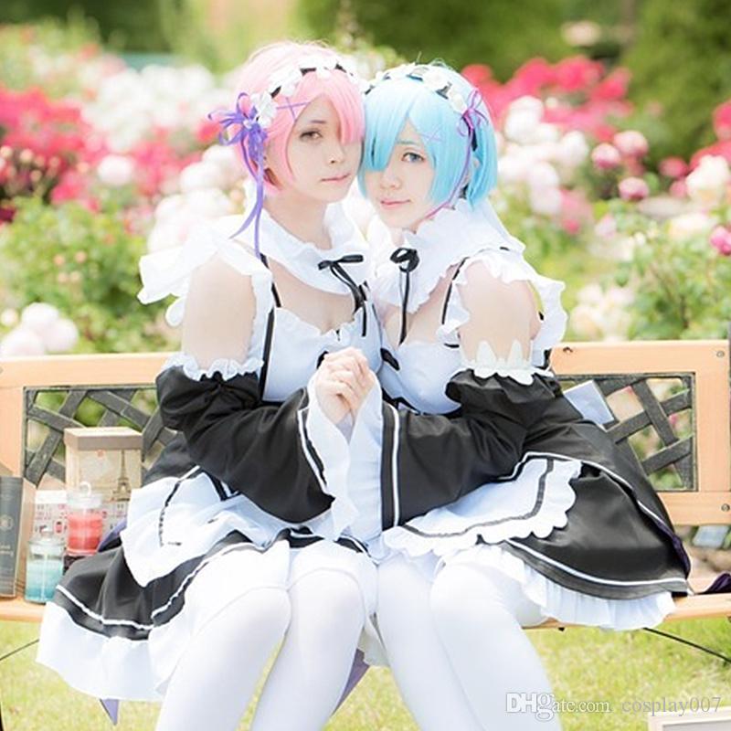 Compre Rem Cosplay Disfraces Mucama Desgaste Anime Japonés Re  Zero Kara  Hajimeru Isekai Seikatsu Ropa Disfraces De Halloween A  47.11 Del  Cosplay007 ... edf549a9bc72