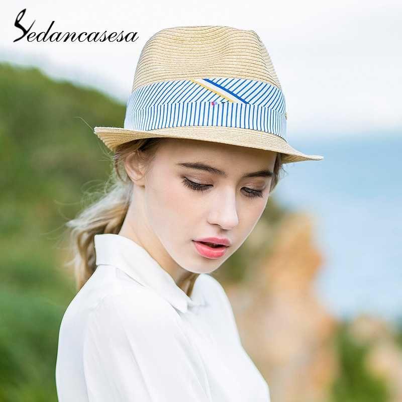 Sedancasesa 2018 Summer Sun Hats Handmade Plaid Ribbon Straw Hat Women S Hat  Straw Beach Sun For Women Girls Fedora Hats Visor Hats From Watcheshomie 62c9e8f808c