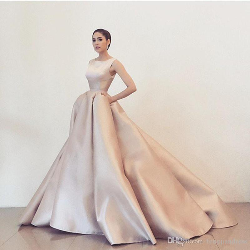 2018 Simple Pink Ball Gown Prom Dresses Cheap Custom Made Evening ...