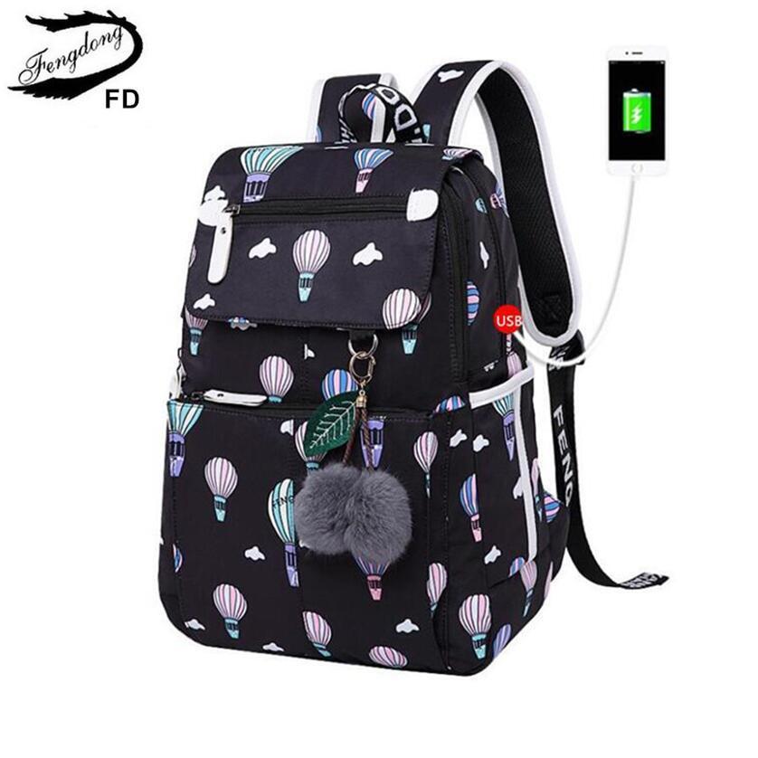 ffb83e2a12ef FengDong Fashion School Backpack for Girls School Bags New Arrival 2018 Children  Backpacks Kids Cute USB Bag Schoolbag Bookbag Y18100704 Online with ...