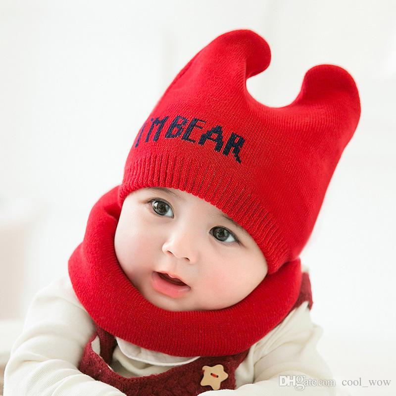 fe83e8fc9a9 Compre Bebé De Punto Sombreros Bufanda Conjunto Invierno A Prueba De Viento Niños  Niños Niñas Calientes Shapka Gorras Para Niños Bufanda Gorros Gorros ...