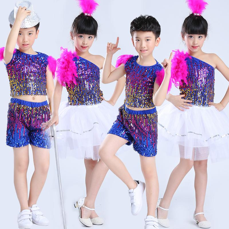 ce6d9bf959b9 2019 Children Girl And Boy Jazz Dance Costumes Sequined Kids Hip Hop ...