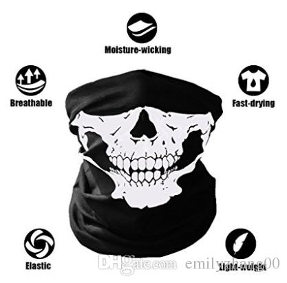 New Breathable Seamless Tube Skull Face Mask Dust-proof Windproof Motorcycle Bicycle Bike Face Mask Cycling Hiking Camping Climbing