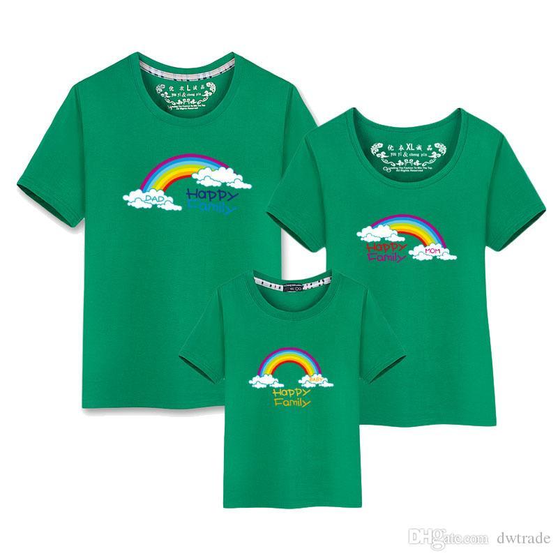가족 일치하는 의상 3 여름 짧은 소매 면화 레인보우 패턴 티셔츠 패밀리 팩 의류 의 가족