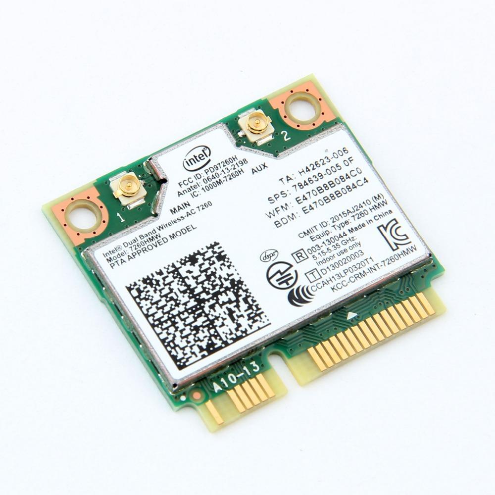 Mini PCI-E Wireless Card For Intel 7260 AC Dual Band 867Mbps 802 11ac  Bluetooth 4 0 7260HMW Wifi Card For Laptop