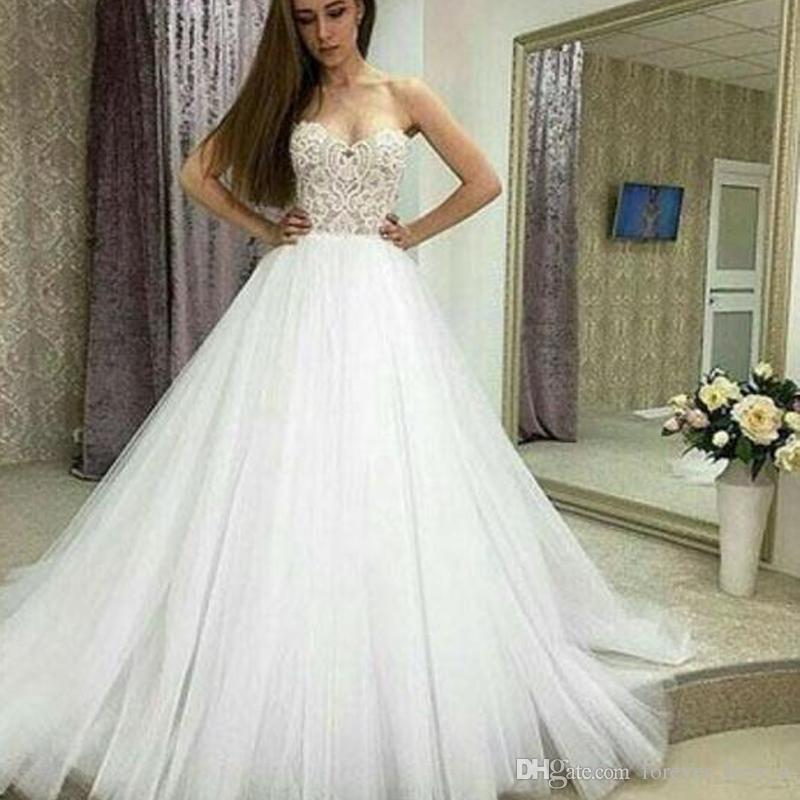 compre 2019 sencillos y elegantes a line vestidos de novia sin