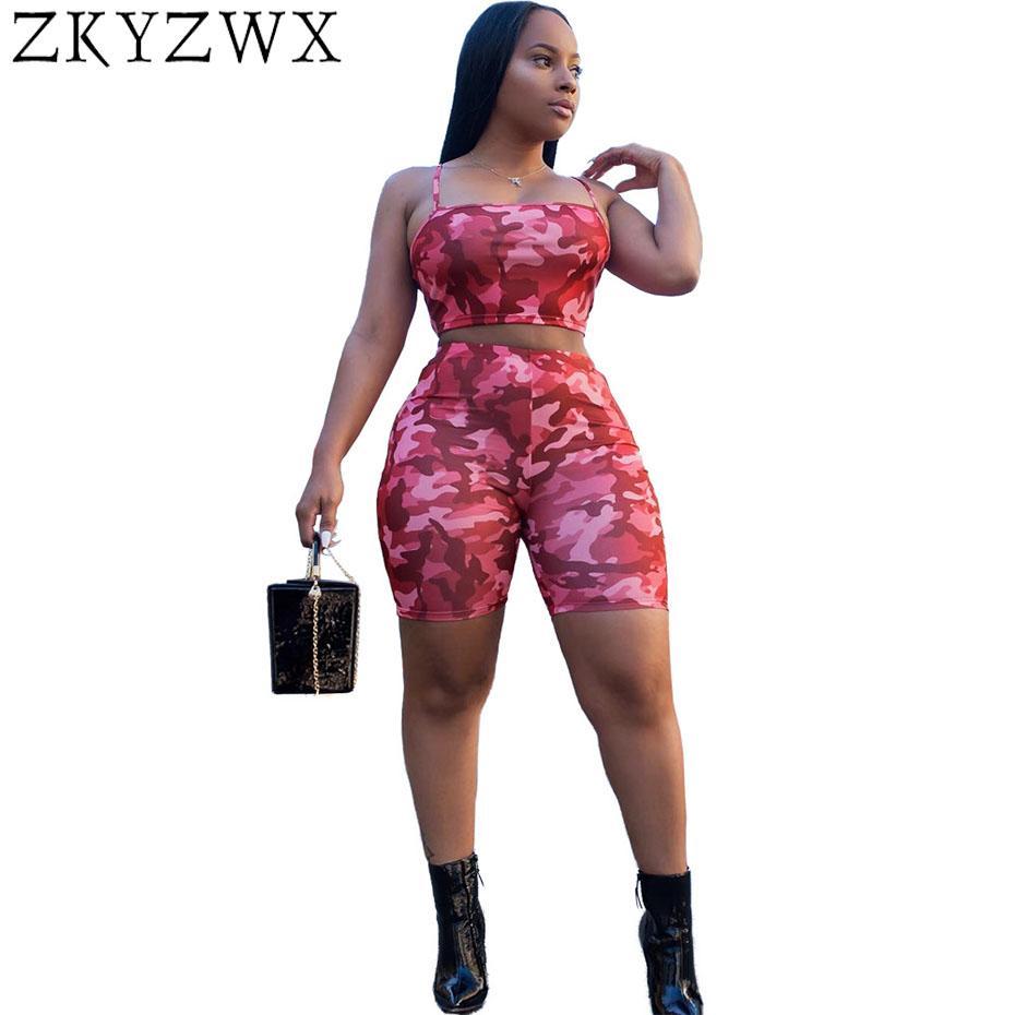 d5973c614c6 ZKYZWX Sexy Plus Size Spaghetti Strip Two Piece Set Summer Camouflage  Shorts Set Women Off Shoulder Crop Top+Shorts Outfits Women s Sets Cheap  Women s Sets ...