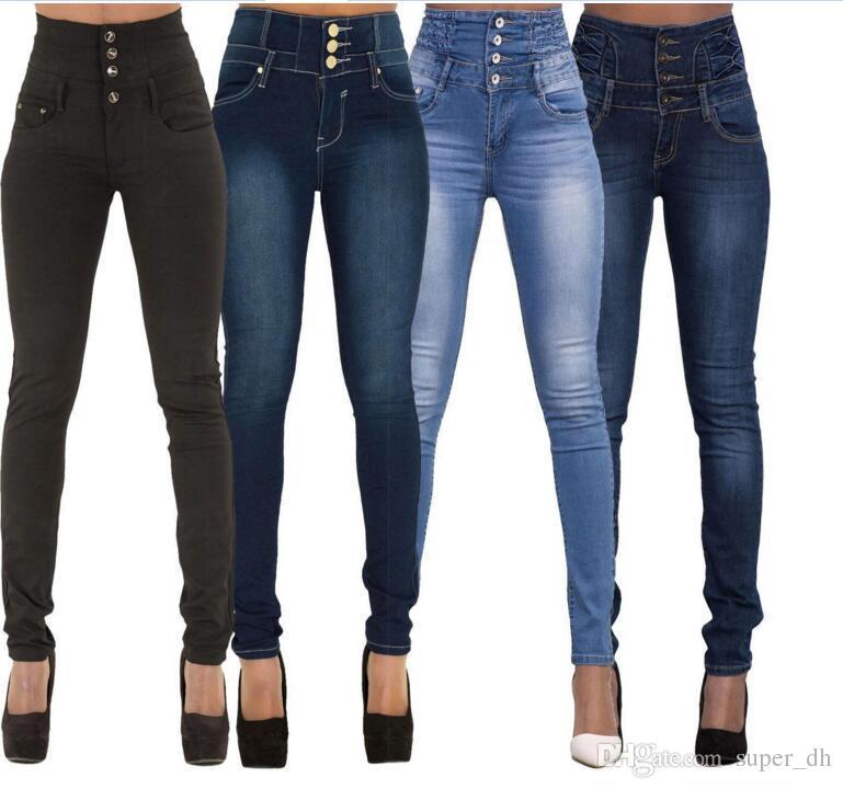 6aa2d8582ef Blue Bleach Wash Distressed Rock Denim Jeans Women Casual High Waist Button  Fly Ripped Pants 2018 Skinny Jeans Women s Jeans Worn Hole Jeans High Waist  ...