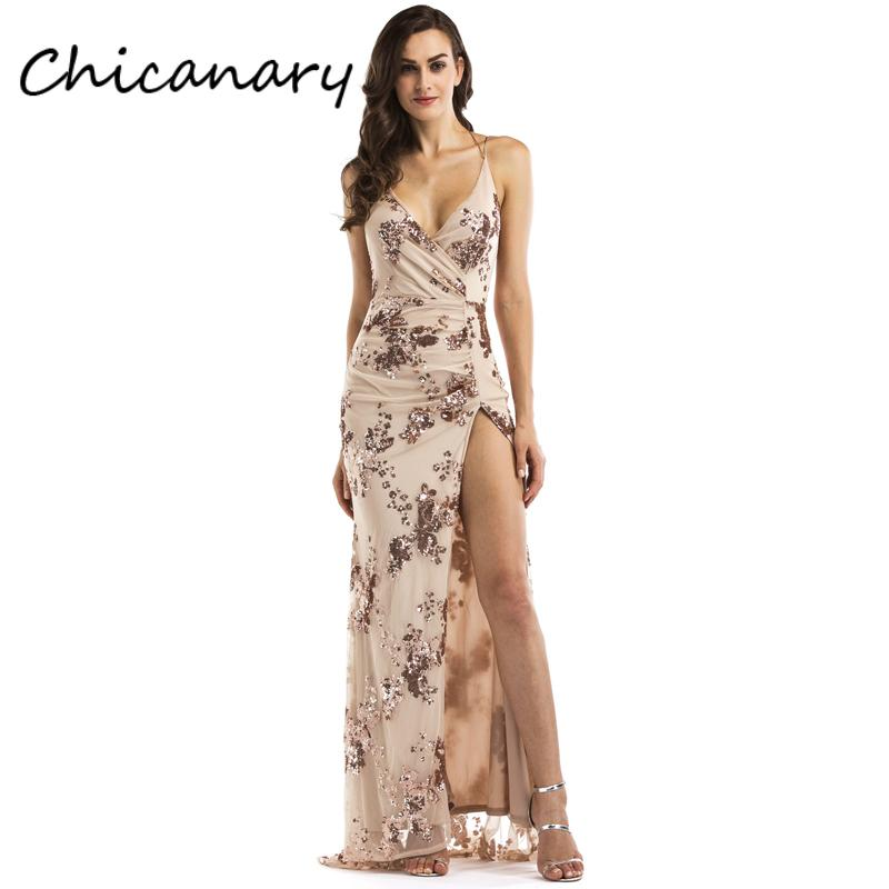 df864c6f78a 2019 Chicanary Sexy V Neck Sequin Wrap Maxi Dress With High Slit Women Back  Cross Sleeveless Wedding Party Dress From Vikey10