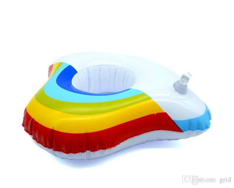 Inflatable Cloud Rainbow Drink Cup Holder Send Inflator Summer Hot Sale Cup Seat Inflatable Beach Pool Float Coaster Toys