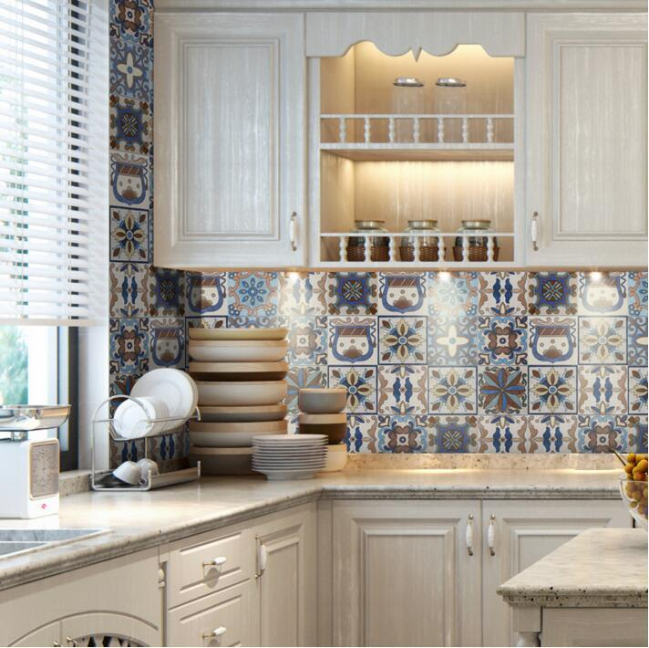 20cmx5m portuguese style mediterranean floor tile stickers backsplash stickers for kitchen - Fliesenspiegel pvc ...