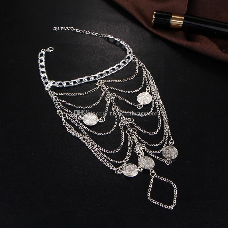 women Jewelry Anklets Vintage Ethnic new summer Beach Multilayer Boho Ethnic Hippie Tassel Coin Barefoot Sandals body foot Jewelry wholesale