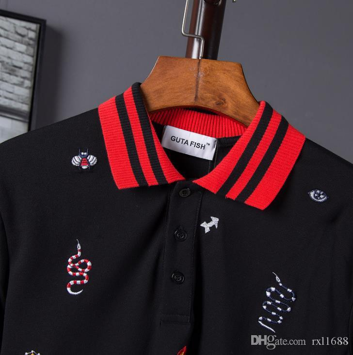 2018 Summer New Europe and America Tide Brand POLO Shirt Cotton Crown Bee Snake Embroidery Button Short-sleeved Men's Shirt