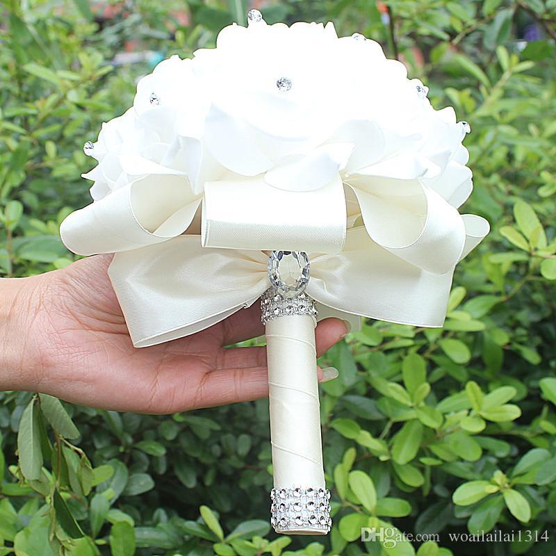 Günstige Handmade Brautjungfer Hochzeit Dekoration Schaum Blumen Rose Bridal Bridemaid Hochzeitsstrauß Weißer Satin Romantische Hochzeitsstrauß