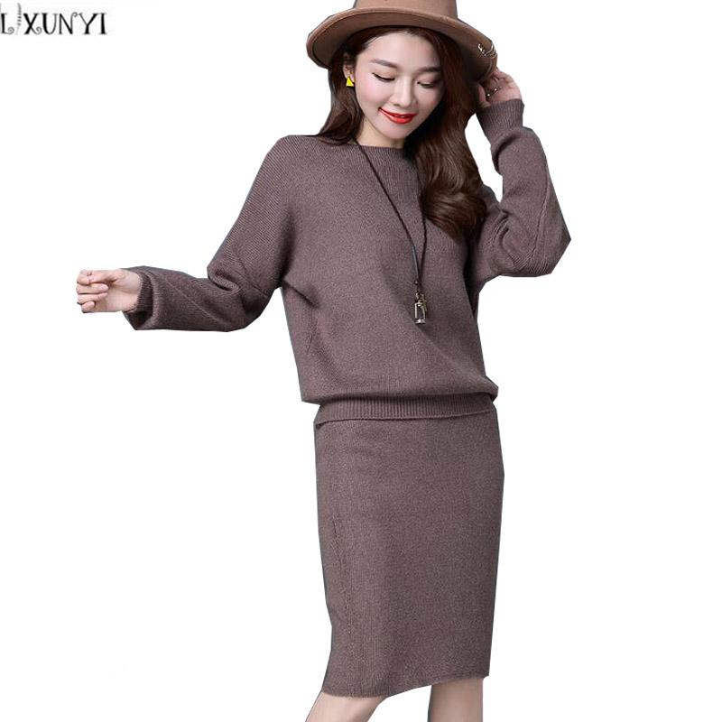 1b01cc494ed30 2019 LXUNYI 3XL Plus Size Womens Two Piece Sets 2018 Loose Knitted Sweater  Woman Sets Of Clothes Package Hip Women Skirt Suit Autumn From Feiyancao