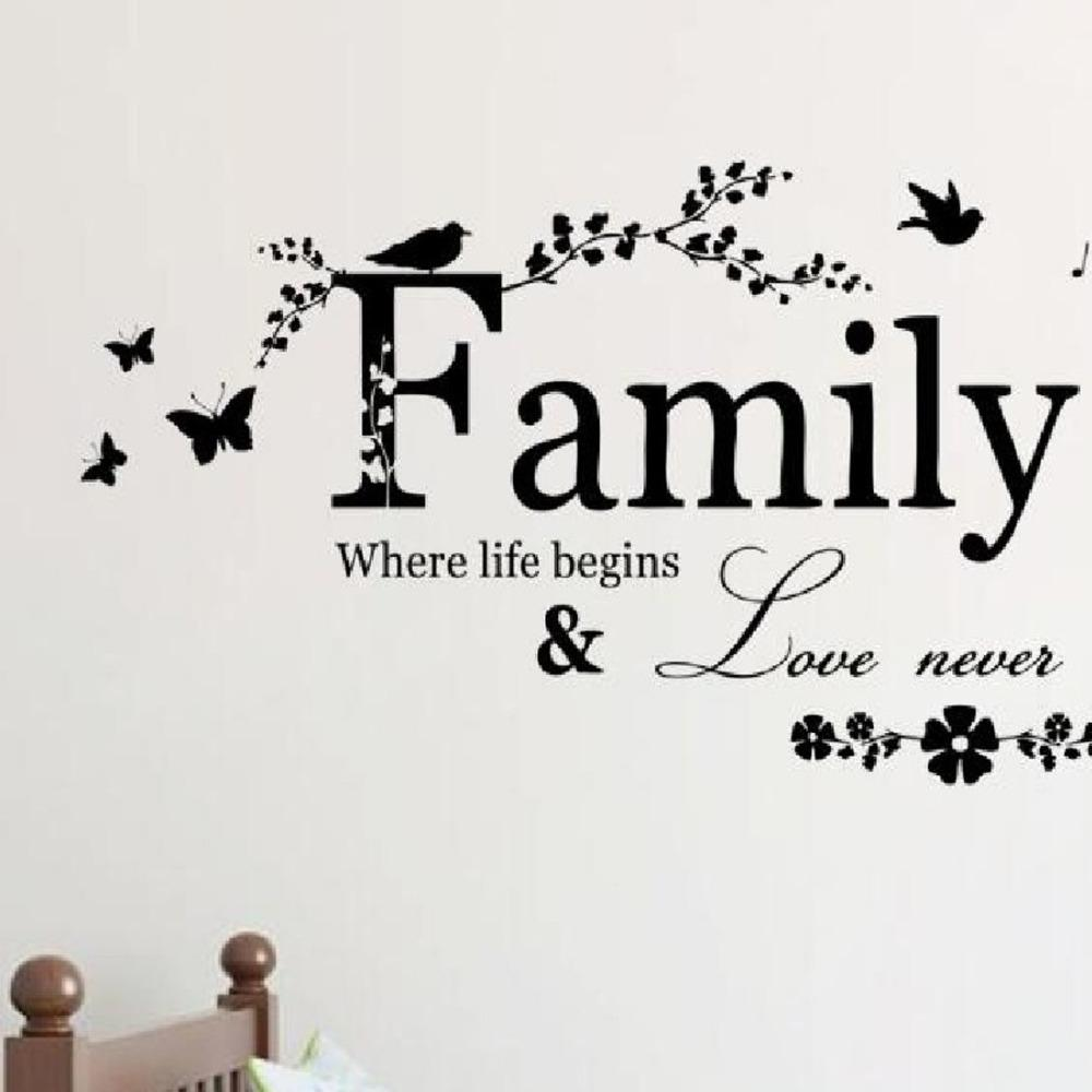 90*50cm Family Love Never Ends Quote vinyl Wall Decal Wall Lettering Art Words Wall Sticker Home Decor Wedding Decoration