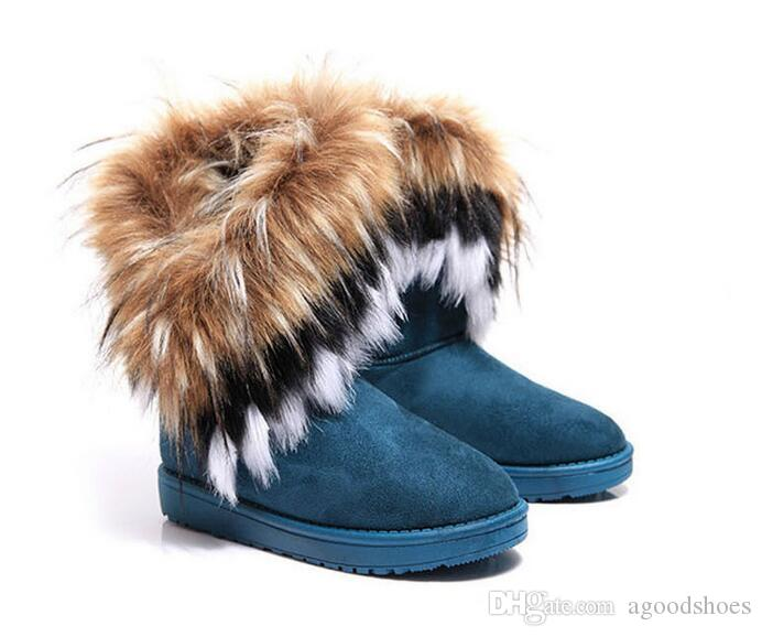 664d5f0d7 Free shipping Women's Boots autumn and winter snow boots Feathers fox fur  flat-bottomed short cotton-padded shoes winter boots XMAS gift