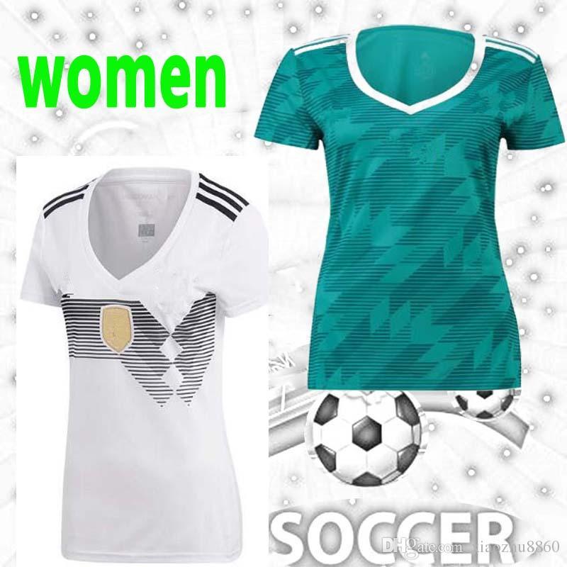 Copa Mundial 2018 Alemania Local Lejos Camiseta De Fútbol Para Mujeres Ozil  Muller Futbol Camisa Deutschland Camiseta Nacional Camiseta Kit Maillot Por  ... 5567543c81fe6