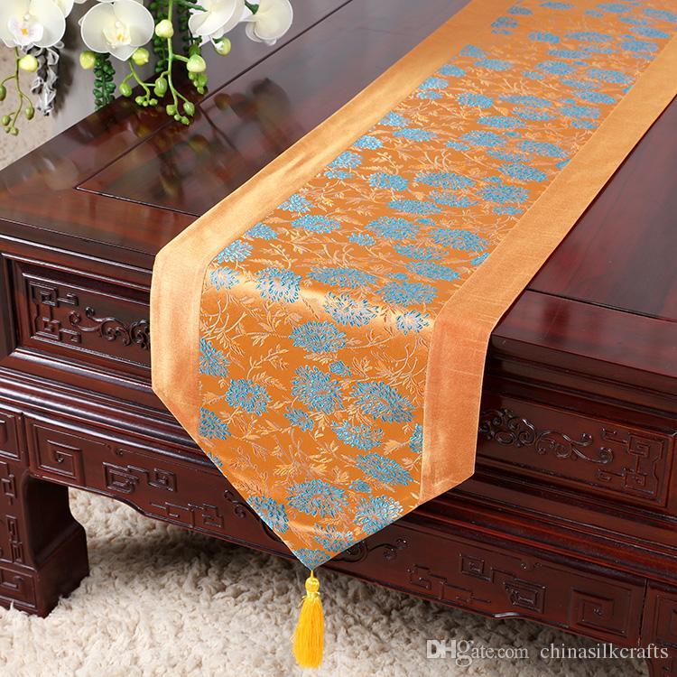 200x33 cm Koi Daisy Modello di bambù Seta cinese Runner Tavolo da pranzo Stuoia decorativa da tavola di Natale Rettangolare Damask Coffee Pads