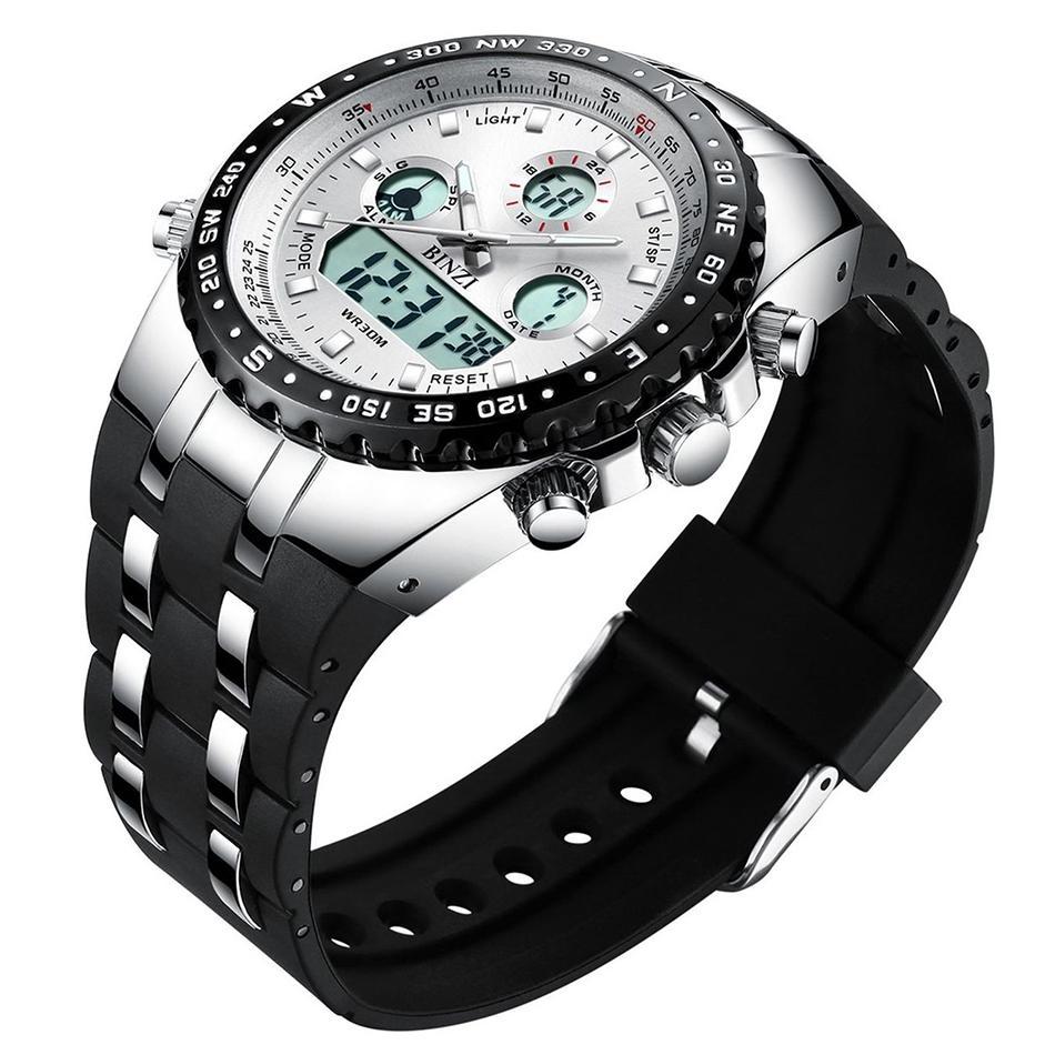 Hombre Uomo Dial Reloj Para Deportivos Impermeabile Analógico Orologio Da De Sportivo Binzi Digital Movement Grande Relojes Visualización Dual 5Aj3L4Rq