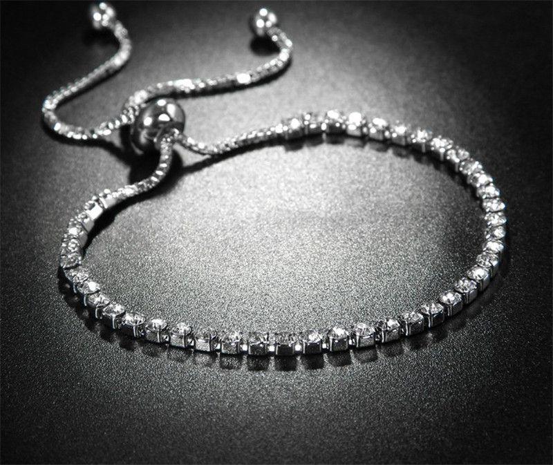 CRISTAL DE LA BODA AJUSTABLE ENLACE DE LA CADENA Brazaletes para las mujeres Zirconia Blanco Dorado Color Romántico Charm Braceletes Joyería