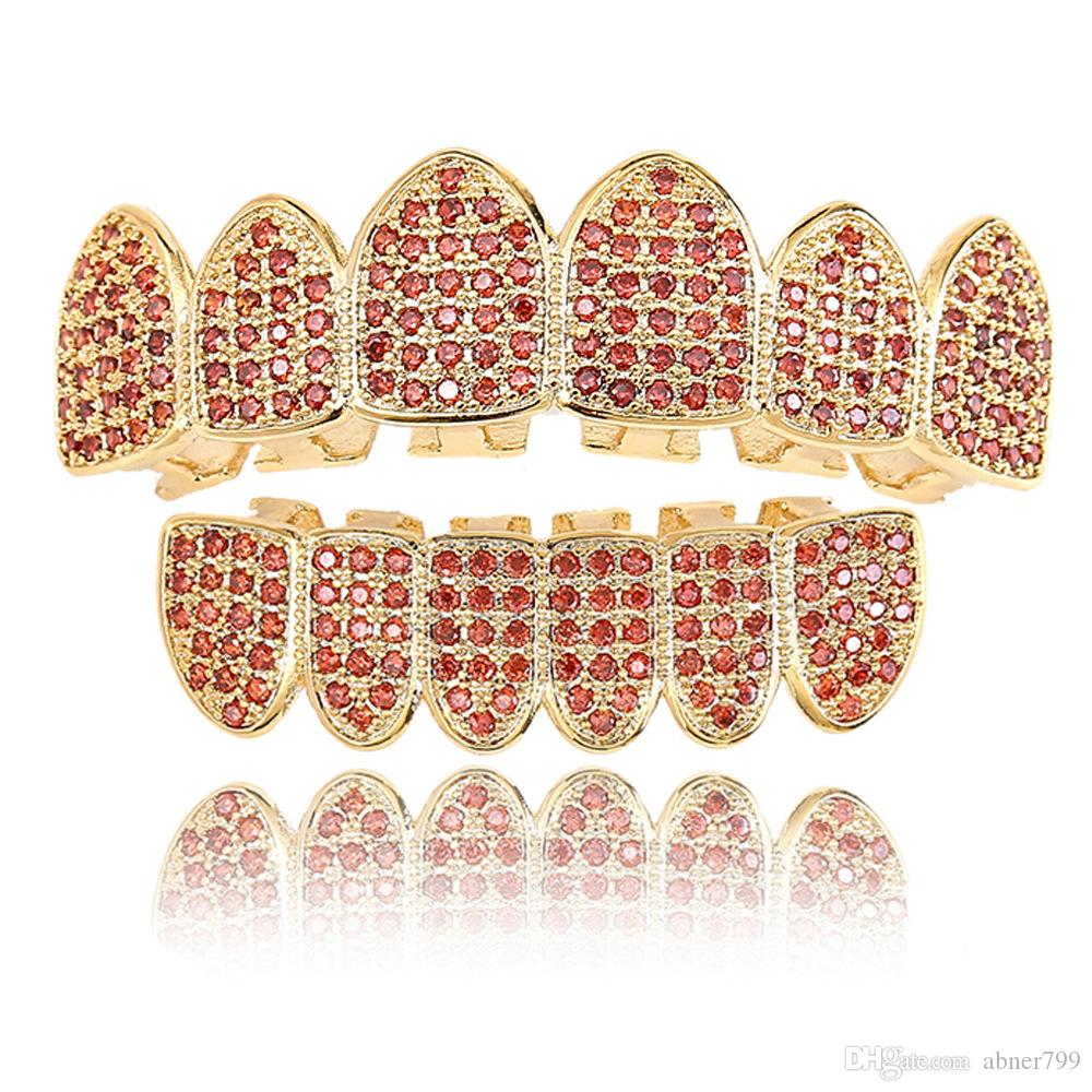 New European and American male and female coloured micro zircon braces, garnet, red zircons, gold teeth, hip-hop braces