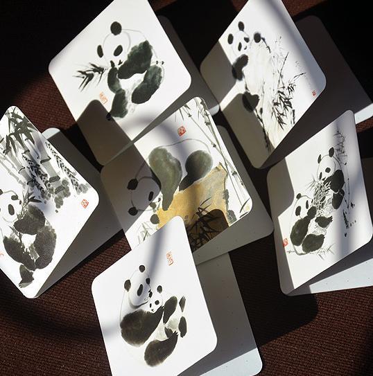 Großhandel 6 Teile / Satz Klapp Typ Panda Bambus Muster Blank ...
