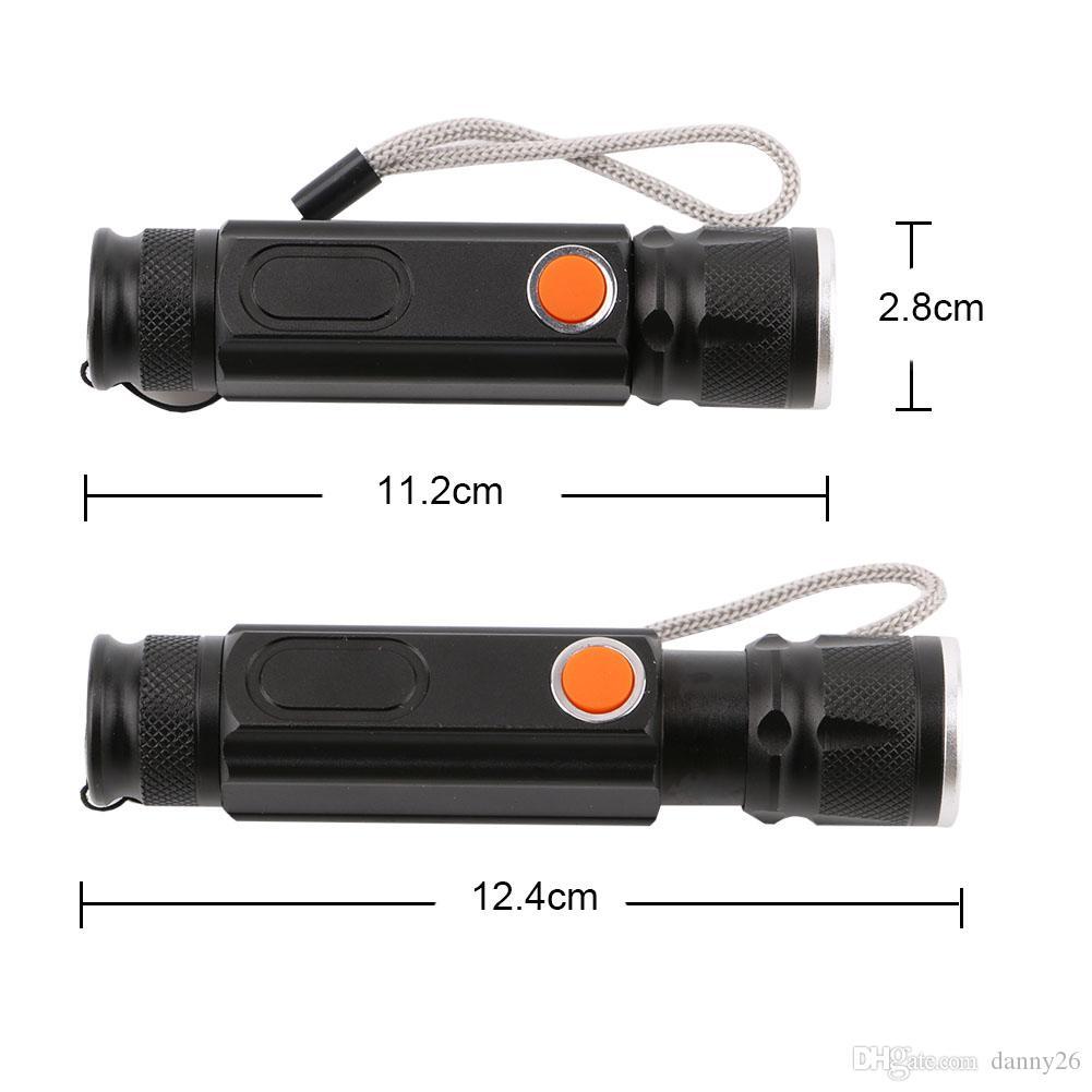 LED USB Torcia 18650 T6 XML 3800LM Della Torcia 4 Modalità Zoomable Torce Tattiche COB Magnete Torcia Lanterna Por Il Campeggio Esterno