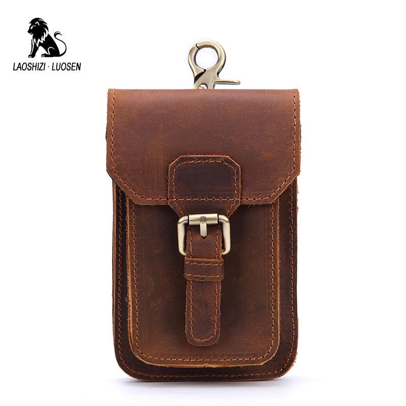 b6b29e4bb355 LAOSHIZI LUOSEN Waist Packs Men Genuine Leather Men s Waist Bag ...